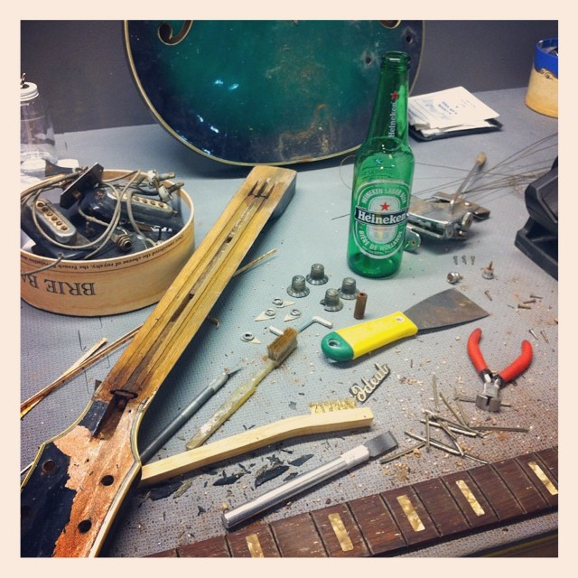 Trying to squeeze in a little time for a personal project... #luthier #luthierslife #guitar #guitartech #guitarrepair #whatsonyourbench